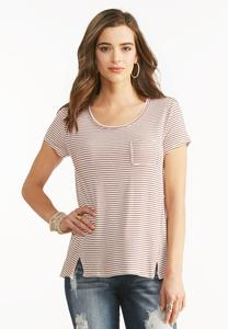 Striped Raw Seam Tee- Plus
