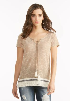Space Dyed Fringe High- Low Top