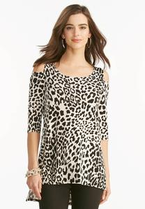 Leopard Print Cold Shoulder Top-Plus