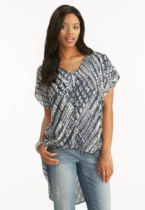 Abstract Button Down High- Low Top