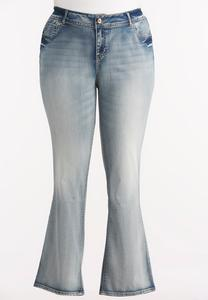 Light Wash Bootcut Jeans-Plus EXT