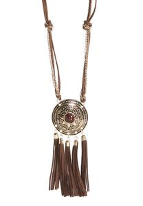 Tribal Medallion Tassel Pendant Necklace