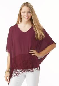 Fringe Lined Poncho Top
