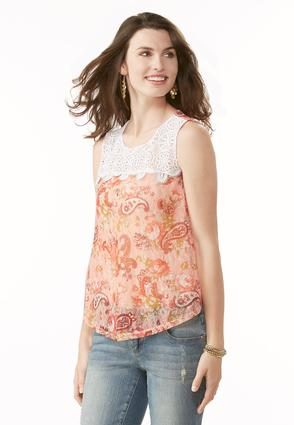 Paisley Lace Swing Tank- Plus
