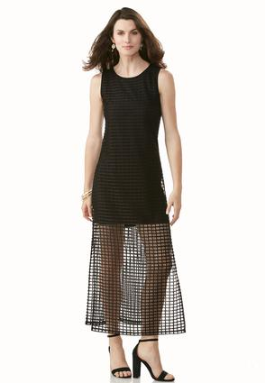 Open Windowpane Maxi Dress- Petite