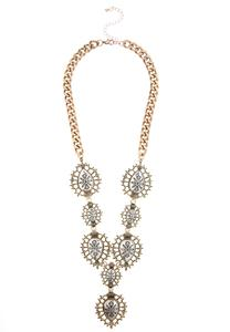 Floral Etched Filigree Statement Necklace