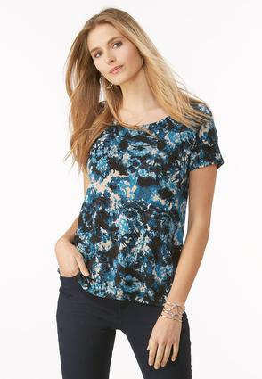 Lattice Back Tie Dye Top- Plus