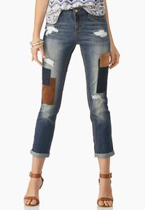 Cuffed Patchwork Girlfriend Jeans