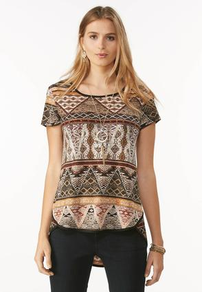 Tribal Knit High- Low Top- Plus