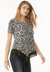 Tribal Print Point Hem Top-Plus