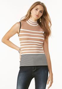 Striped Mock Neck Pullover-Plus