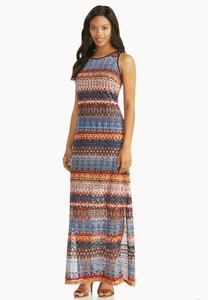 Perforated Abstract Stripe Maxi Dress- Plus Petite