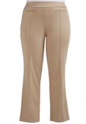Pintuck Ponte Straight Leg Pants- Plus