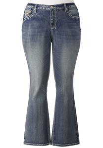 Faux Flap Pocket Bootcut Jeans- Plus