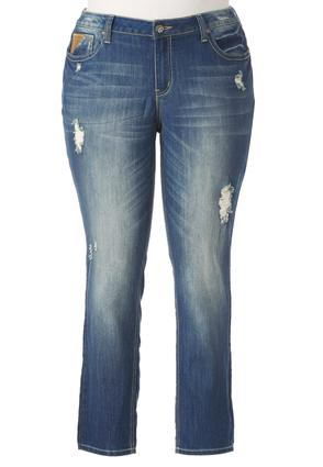 Distressed Patchwork Skinny Jeans- Plus