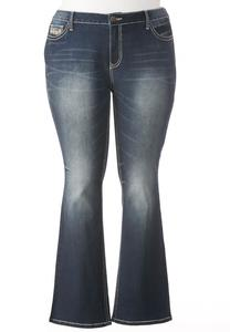 Embellished Cross Pocket Bootcut Jeans-Plus
