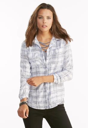 Streaky Plaid Button Down Shirt