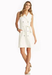 Belted Double Breasted Trench Dress
