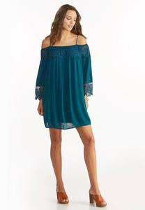 Crochet Lace Inset Off the Shoulder Dress
