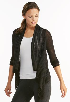 Ruched Tie Back Waterfall Cardigan