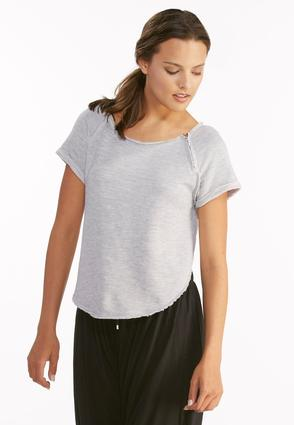 Zip Shoulder Raw Edge Sweatshirt- Plus
