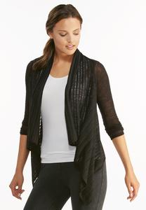 Ruched Tie Back Waterfall Cardigan-Plus