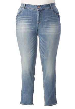 Shape Enhancing Cuffed Ankle Jeans- Plus Ext