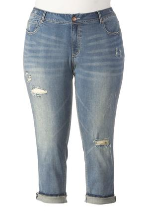 Distressed Girlfriend Ankle Jeans- Plus Ext