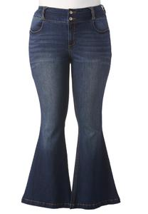 Braided Belt Loop High Rise Flare Jeans-Plus