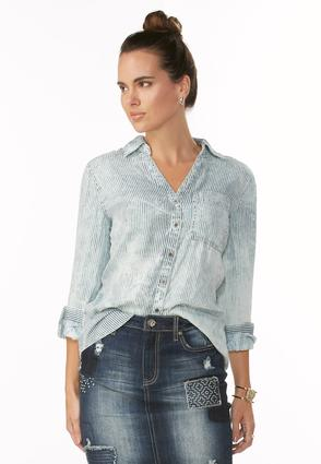 Conductor Striped Chambray Shirt