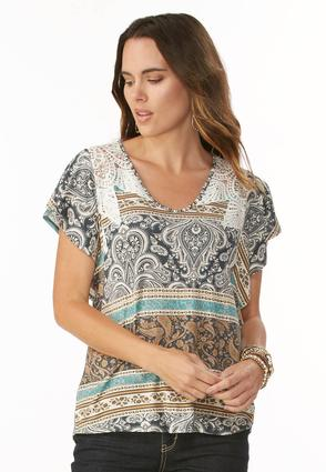 Paisley Striped Crochet Inset Top