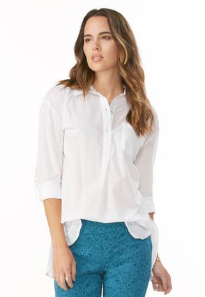 Slit High- Low Popover Shirt- Plus
