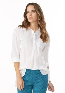 Slit High-Low Popover Shirt-Plus