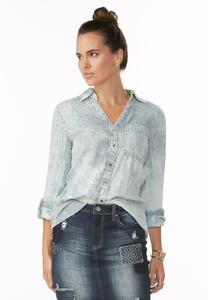 Conductor Striped Chambray Shirt-Plus