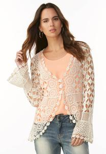 Open Crochet Bell Sleeve Jacket