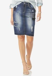 Patched Release Hem Denim Skirt