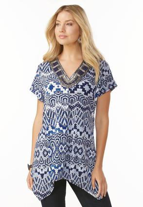 Embellished Neck Zig Zag Sharkbite Top- Plus