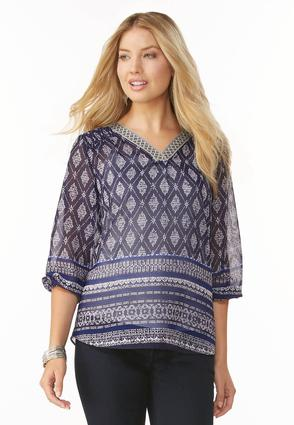 Sheer Tribal Print Poet Top