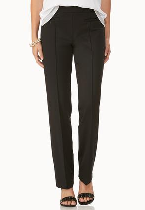 Pintuck Ponte Straight Leg Pants