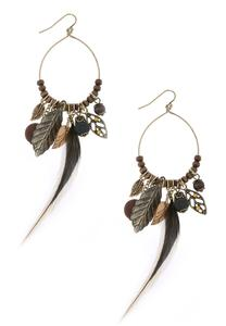 Beaded Feather Wire Hoop Earrings