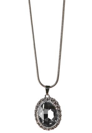 Pave Bordered Stone Pendant Necklace