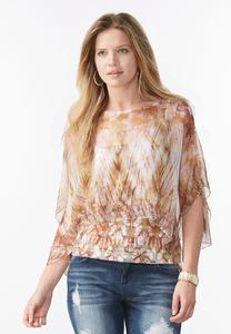 Embellished Abstract Capelet Top
