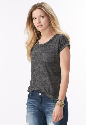 Twist Neck Burn Wash Tee- Plus