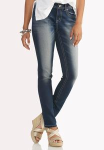 Heavy Stitched Skinny Jeans-Petite