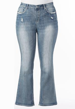 Embellished Pocket Bootcut Jeans- Plus