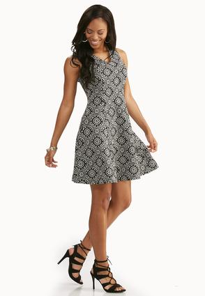 Medallion Knit Fit And Flare Dress- Plus