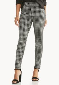 Baroque Checkered Slim Leg Ankle Pants