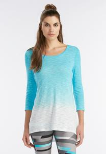 Dip Dyed Cutout Back Athleisure Top-Plus