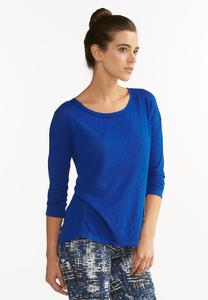 Pleated Keyhole High- Low Tee
