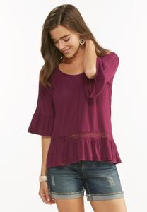 Ruffled Cold Shoulder Top- Plus